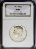 Kennedy Half Dollars: , 1977-D 50C MS65 NGC. NGC Census: (10/21). PCGS Population (34/98).Mintage: 31,449,106. Numismedia Wsl. Price: $14.(#6732)...