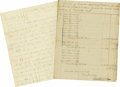 """Miscellaneous:Ephemera, Two Early Kentucky Letters Dealing With Tobacco. Includes a threepage letter, 7.75"""" x 10"""", Lexington, July 16, 1817, settli...(Total: 2 Items)"""