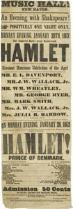 """Miscellaneous:Ephemera, 1862 Playbill For a Production of Hamlet. 7.5"""" x22.25"""", dated January 20, 1862. Given the ephemeral nature of i..."""