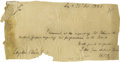 "Autographs:Statesmen, Henry Clay Autograph Note Signed ""H. Clay"". One page, 8"" x4"", Lexington, October 25, 1821, to Langdon Clever. It reads ..."