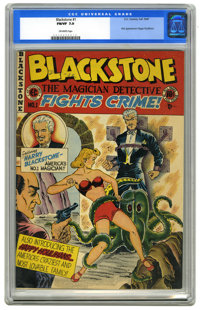Blackstone, the Magician Detective #1 (EC, 1947) CGC FN/VF 7.0 Off-white pages. First appearance of the Happy Houlihans...