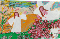 SISTER GERTRUDE MORGAN (American, 1900-1980) The Angel John Saw.... Mixed media on paper 12-1/2