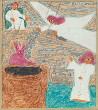 SISTER GERTRUDE MORGAN (American, 1900-1980) Bible story illustrations (five works) Mixed media on p