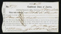 Confederate Notes:Group Lots, Assistant Treasurer of the Confederate States at Charleston BondReceipt Form. . ...
