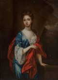 Fine Art - Painting, European:Antique  (Pre 1900), Manner of Sir Godfrey Kneller (British, 1646-1723). Portrait ofan Elegant Woman. Oil on canvas laid on board. 10-1/4 x ...