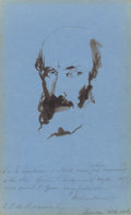 Works on Paper, Edwin Henry Landseer (British, 1802-1873). Morning Sketch, August 20th, 1857. Ink wash on blue paper. 7-1/2 x 4-3/4 inch...