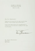 Autographs:U.S. Presidents, President Harry Truman Typed Letter Signed....