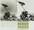 Autographs:Military Figures, John H. Bradley Autograph Letter Signed and Signed Block of Stamps....