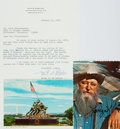 Autographs:Artists, [Sculptors]. Korczak Ziolkowski Twice Signed Postcard and Felix deWeldon Typed Letter Signed....
