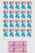 Autographs:Celebrities, Boxer Sugar Ray Robinson Signed Block of Stamps....