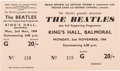 Music Memorabilia:Tickets, The Beatles: Unused King's Hall Concert Ticket, 1964....