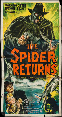 "The Spider Returns (Columbia, 1941). Three Sheet (41"" X 78""). Serial"