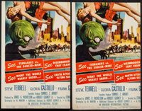 """Invasion of the Saucer-Men (American International, 1957). Trimmed Inserts (2) (11.5"""" X 18""""). Science Fiction..."""