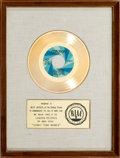 "Music Memorabilia:Awards, Rolling Stones ""Honky Tonk Women"" White Matte RIAA Gold RecordAward (London 45-LON-910, 1969)...."