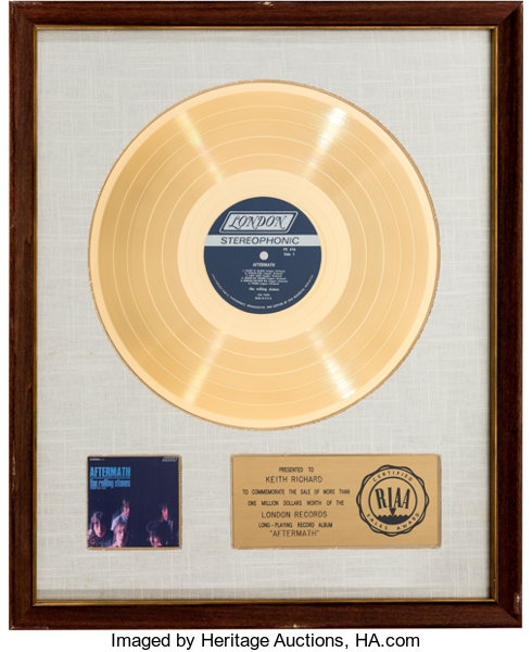 Rolling Stones Aftermath White Matte RIAA Gold Record Award