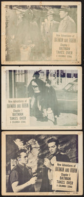 """The New Adventures of Batman and Robin (Columbia, 1949). Lobby Cards (3) (11"""" X 14"""") Chapter 1 --""""Batman..."""