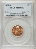 Lincoln Cents, 1973-S 1C MS66 Red PCGS. PCGS Population (132/4). NGC Census: (197/2). Numismedia Wsl. Price for problem free NGC/PCGS coi...
