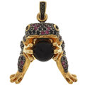 Estate Jewelry:Pendants and Lockets, Sapphire, Garnet, Onyx, Sterling Silver Pendant . ...
