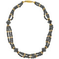 Estate Jewelry:Necklaces, Hematite, Gold Necklace. ...