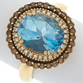 Estate Jewelry:Rings, Blue Topaz, Diamond, Colored Diamond, Gold Ring, LeVian. ...