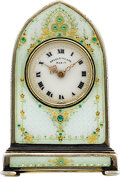 Timepieces:Clocks, Valme Swiss Miniature Enameled Clock For Spaulding & Co. Paris. ...