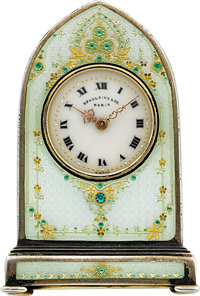 Valme Swiss Miniature Enameled Clock For Spaulding & Co. Paris