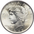 Peace Dollars, 1922 $1 MS67 PCGS Secure....