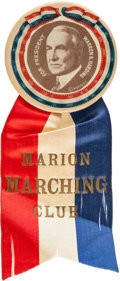 Political:Pinback Buttons (1896-present), Warren G. Harding: Ultra Rare and Colorful Ribbon Badge....