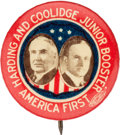 "Political:Pinback Buttons (1896-present), Harding & Coolidge: The Rare and Sought-after ""JuniorBoosters/America First"" Jugate...."