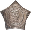 Political:Ferrotypes / Photo Badges (pre-1896), Abraham Lincoln: Highly Coveted Wide Awake Hat Badge....