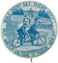 Political:Pinback Buttons (1896-present), McKinley & Hobart: Fantastic Bicycle Cartoon Jugate....