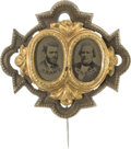 Political:Ferrotypes / Photo Badges (pre-1896), Grant & Wilson: Highly Distinctive Ferrotype JugateStickpin....
