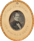 "Political:Ferrotypes / Photo Badges (pre-1896), Winfield Scott: An Incredible ""For President"" Daguerreotype for the1852 Whig Presidential Candidate. ..."