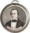 Political:Ferrotypes / Photo Badges (pre-1896), Lewis Cass: Unlisted Pewter Rim Medallion....