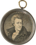 Political:Ferrotypes / Photo Badges (pre-1896), Andrew Jackson: Small Pewter Rim Mirror....