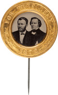 Political:Ferrotypes / Photo Badges (pre-1896), Grant & Wilson: An Absolutely Stunning, Pristine 1872-datedJugate Ferrotype....