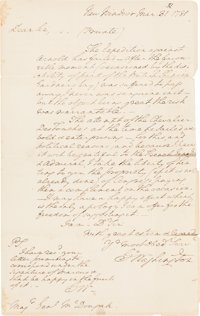 George Washington Autograph Letter Signed, With Initialed Postscript and Franking Signature
