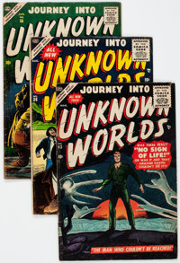 Journey Into Unknown Worlds #36, 43, and 56 Group (Atlas, 1955-57) Condition: Average VG+.... (Total: 3 Comic Books)