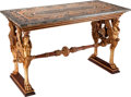 Furniture : French, A French Empire-Style Giltwood Salon Table with Specimen MarbleTop, 19th century. 36 inches high x 58 inches wide x 28 inch...