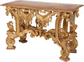 Furniture : Continental, An Italian Carved Giltwood Console, 18th century. 34-1/2 incheshigh x 53 inches wide x 23 inches high (87.6 x 134.6 x 58.4 ...