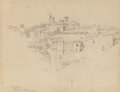 Fine Art - Work on Paper:Drawing, Elihu Vedder (American, 1836-1923). Volterra, Florence Days,circa 1860. Pencil on paper. 7 x 8-3/4 inches (17.8 x 22.2 ...