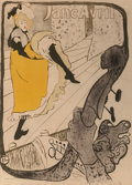 Fine Art - Work on Paper:Print, Henri de Toulouse-Lautrec (French, 1864-1901). Jane Avril,1893. Lithograph in colors. 49-1/2 x 35-1/2 inches (125.7 x 9...
