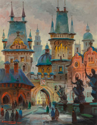 ANATOL KRASNYANSKY (Russian, b. 1930) Towers of King Karl's Bridge, Prague, 1985 Acrylic on canvas
