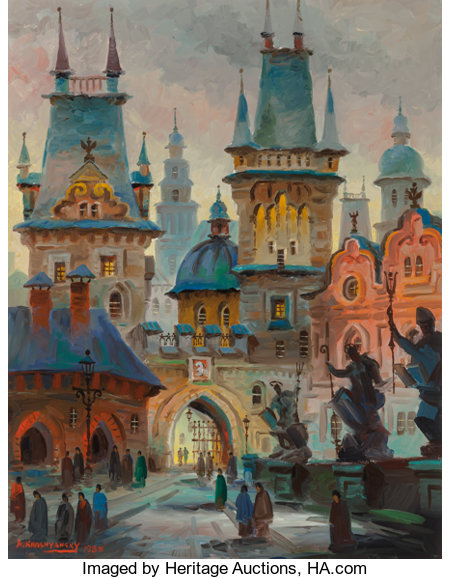 Anatol Krasnyansky (Russian, b. 1930)Towers of King Karl's Bridge, Prague, 1985Acrylic on canvas33 x 26 inches (83...