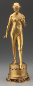 Bronze:American, Herbert Adams (American, 1858-1945). Nymph of Fynmere, 1915.Bronze with gold patina and enamel inlay. 17-1/2 inches (44...