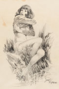 Original Comic Art:Illustrations, Jack Kamen - Semi-Nude Female Illustration Original Art (undated)....