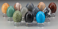 Decorative Arts, Continental, A Group of One Hundred and Twenty Carved Hardstone andSemi-Precious Eggs on Lucite Bases, 20th century. 2-3/4 inches high(... (Total: 120 Items)
