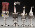 Silver Holloware, Continental:Holloware, Three Silver Spice Towers & Glass and Silver Elijah's Cup,19th/20th century. Marks to spice towers: STERLING; (JC1886)... (Total: 4 Items)