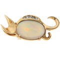 Estate Jewelry:Pendants and Lockets, Opal, Diamond, Gold Pendant. ...