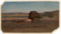 Fine Art - Painting, American:Antique  (Pre 1900), Elihu Vedder (American, 1836-1923). The Sphinx, circa 1890.Oil on paper. 5-7/8 x 10-3/4 inches (14.9 x 27.3 cm) (sheet)...